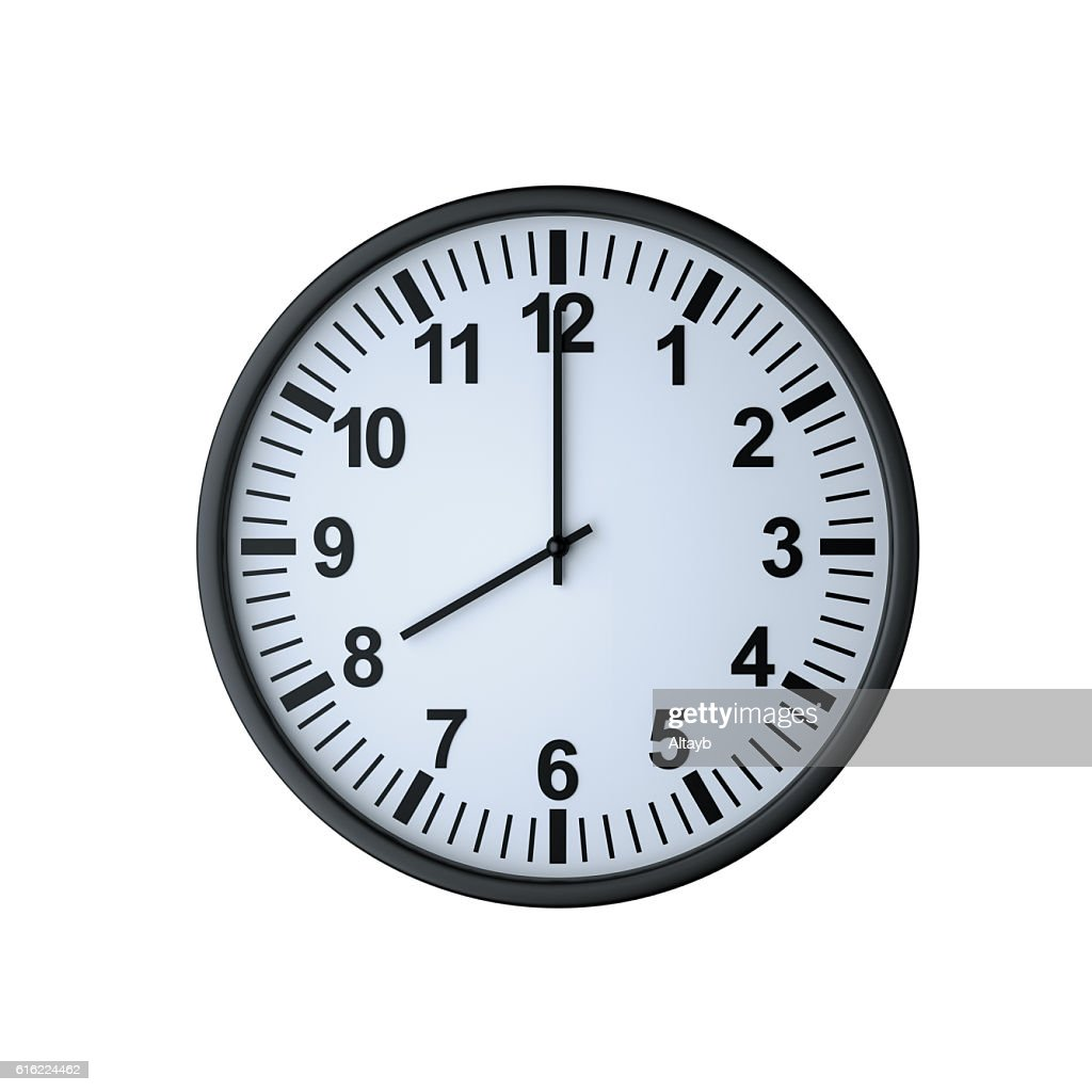 Clock face showing eight o'clock : Stock Photo