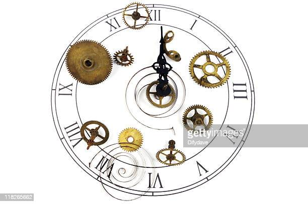 Clock Face With Cogs Wheels And Springs
