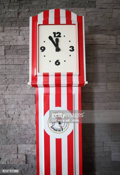 A clock in club colours during the UEFA Women's Euro 2017 match between Iceland and Austria at Sparta Stadion on July 26 2017 in Rotterdam Netherlands