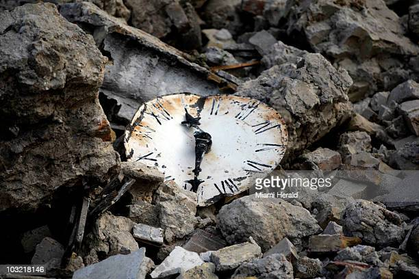 A clock lies in the rubble of the destroyed Sainte Rose de Lima church in Leogane Haiti Wednesday January 20 2010