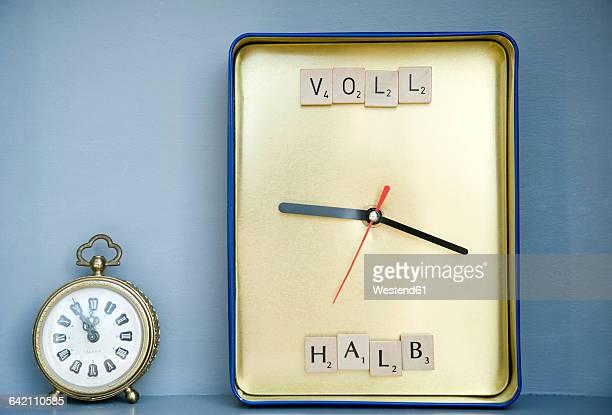 DIY clock made of box and alarm clock