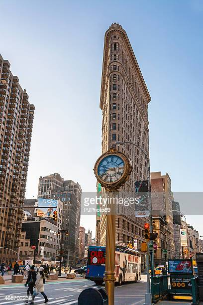 Clock of Fith Avenue and Flatiron Building - New York