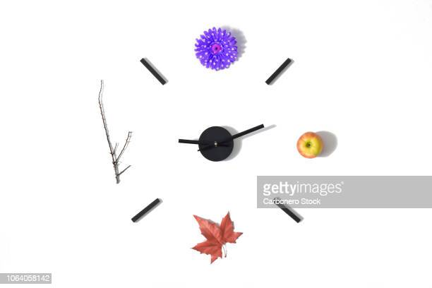 clock of the seasons - herbst winter kollektion stock-fotos und bilder