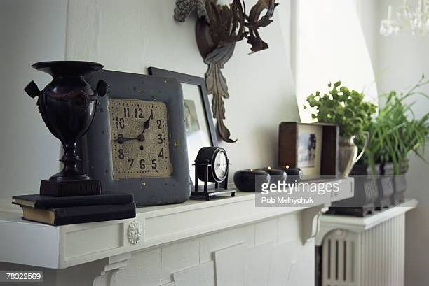 Clock on fireplace mantle