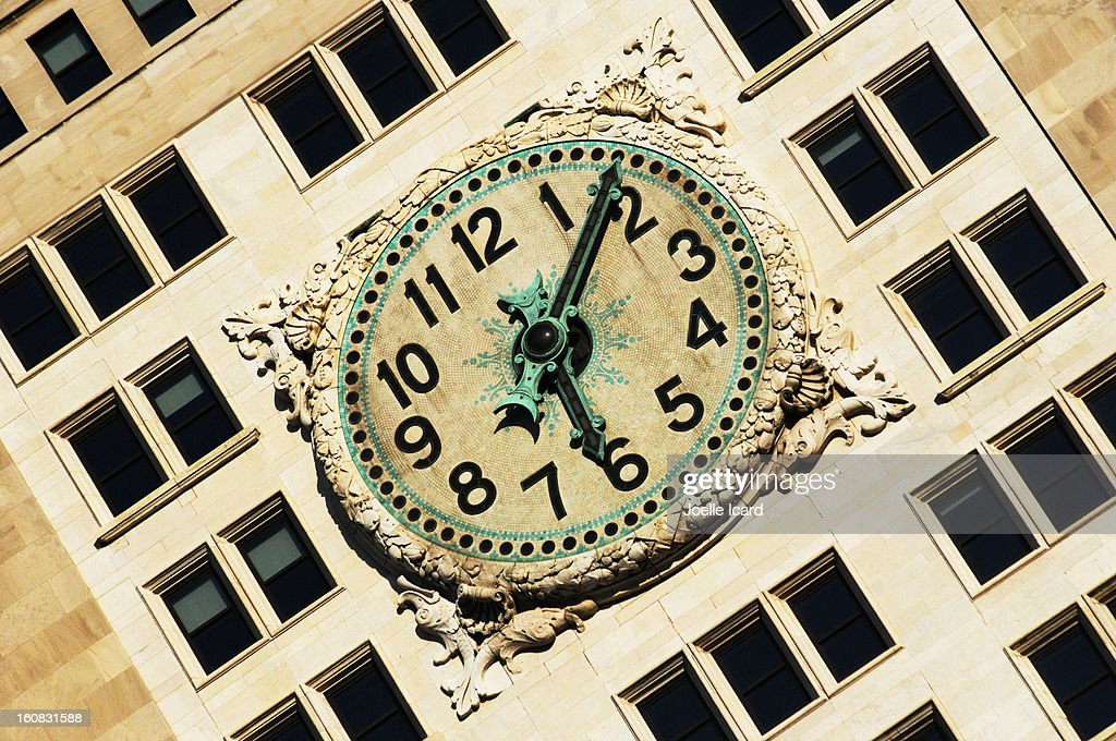 Clock on the facade of the Met life tower : Stock Photo
