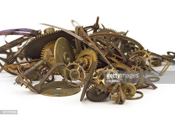 clock parts cogs and springs - brass stock pictures, royalty-free photos & images