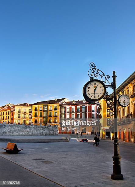 clock post - valladolid spanish city stock pictures, royalty-free photos & images