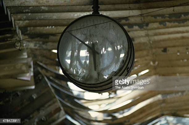 A clock remains stopped at Nagata area in January 1995 in Kobe Hyogo Japan Magnitude 73 strong earthquake jolted in the morning of January 17 1995 in...