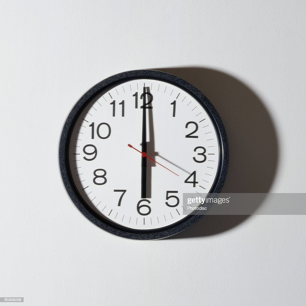 Clock Showing Six O'clock : Stock Photo