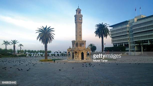 clock tower and izmir municipality building - izmir stock pictures, royalty-free photos & images