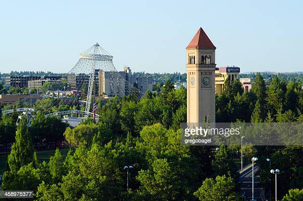 clock tower and pavilion at riverfront park in spokane, wa - riverfront park spokane stock photos and pictures