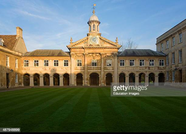 Clock tower and quadrangle courtyard of Emmanuel College University of Cambridge England