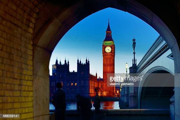 Clock Tower and Westminster Bridge at sunset