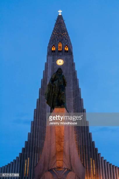 Clock tower at night in Reykjavik, Iceland