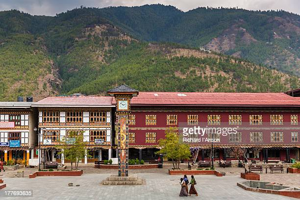 clock tower & city buildings - thimphu stock pictures, royalty-free photos & images