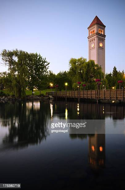 clock tower during nighttime at riverfront park in spokane, wa - riverfront park spokane stock photos and pictures