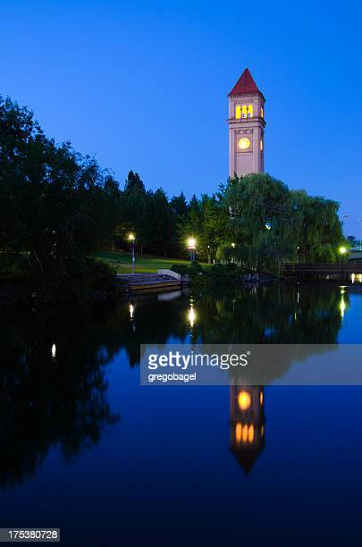 Clock tower during nighttime at Riverfront Park in Spokane, WA