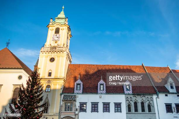 clock tower from old town hall in bratislava slovakia - slovakia stock pictures, royalty-free photos & images