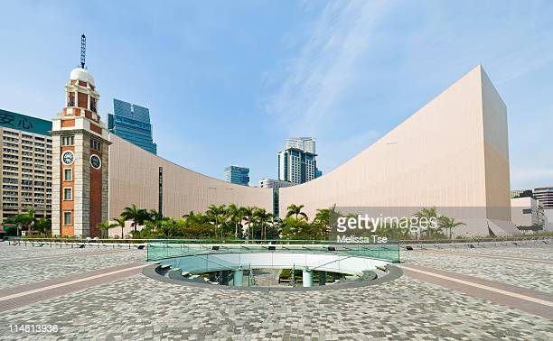 clock tower & hong kong cultural center - tsim sha tsui stock pictures, royalty-free photos & images