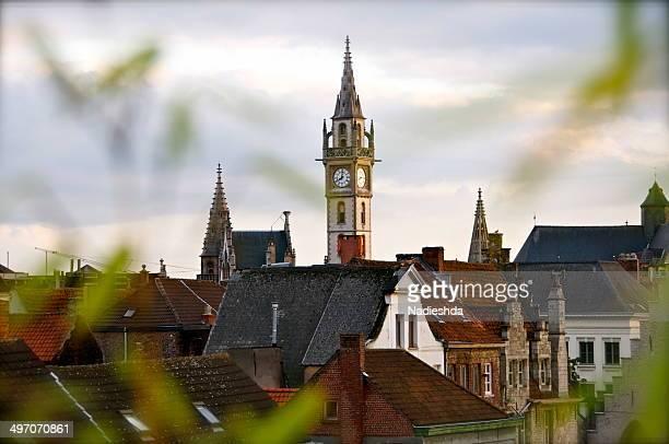 clock tower in ghent - 東フランダース ストックフォトと画像