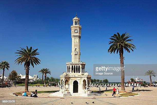 clock tower in konak square izmir turkey - izmir stock pictures, royalty-free photos & images