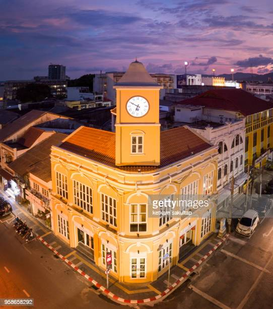 clock tower in phuket old town, phuket province, thailand - old town stock pictures, royalty-free photos & images
