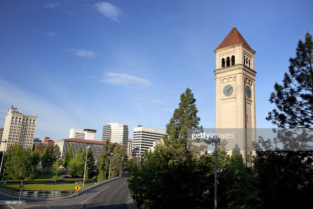 Torre de reloj en el Parque Riverfront : Foto de stock