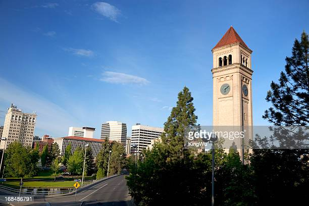 clock tower in riverfront park - riverfront park spokane stock photos and pictures