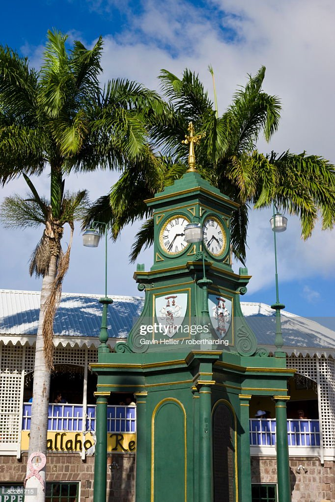 Clock Tower in the centre of capital, Piccadilly Circus, Basseterre, St. Kitts, Leeward Islands, West Indies, Caribbean, Central America : Stock Photo