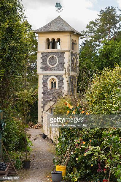 Clock Tower in the Walled Garden on Garnish Island, or Illnaculin, in Bantry Bay, Beara Peninsula, County Cork, Republic of Ireland.