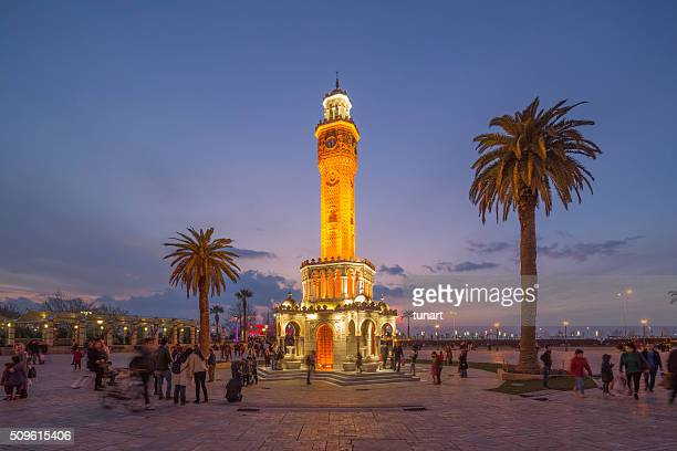 clock tower, konak square, izmir, turkey - izmir stock pictures, royalty-free photos & images