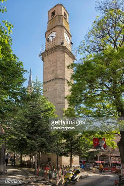 clock tower of burdur town,turkey. - emreturanphoto stock pictures, royalty-free photos & images