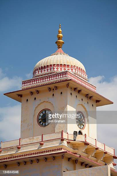 Clock Tower of stone and lime plaster at The Maharaja of Jaipur's Moon Palace in Jaipur Rajasthan India