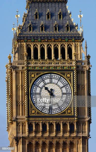 Clock Tower on the Houses of the Parliament which houses Big Ben the famous clock bells The great clock of Westminster shows a time of ten thirty