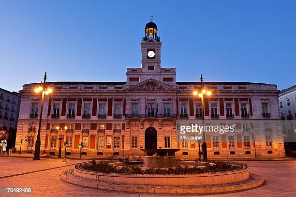 Clock tower on the Ministry of the Interior building Puerta del Sol Madrid Spain