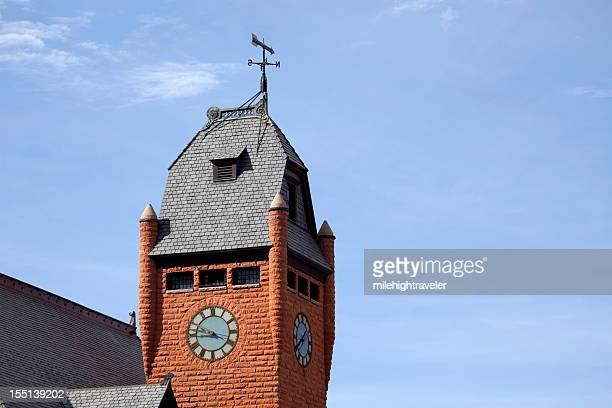 Clock Tower Pueblo's Union Train Station Colorado copy space horizontal