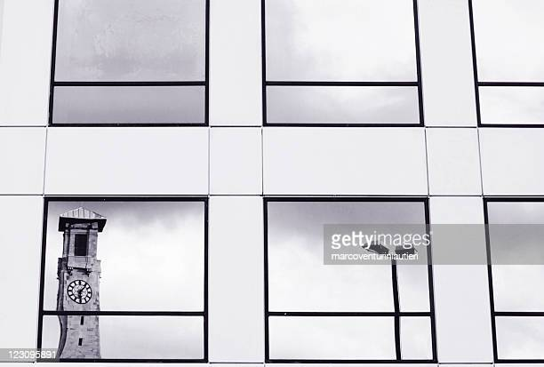 clock tower reflected in glass windows - civic centre, southampton - southampton england stock pictures, royalty-free photos & images
