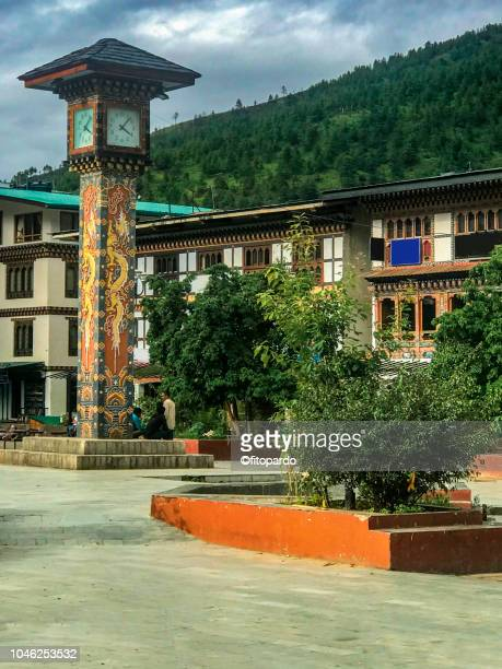 clock tower square at thimphu, bhutan - bhutan royalty stock pictures, royalty-free photos & images