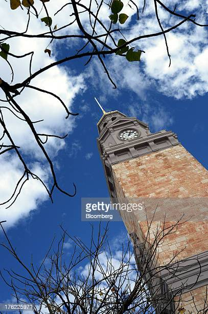 A clock tower stands in the mining town of Kalgoorlie Australia on Thursday Aug 8 2013 Western Australia the nation's largest state by area with 26...