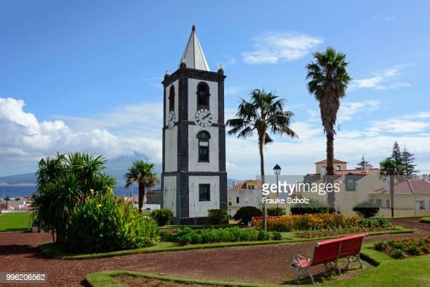 Clock tower Torre do Relogio, Jardim de Florecio Terra park, Horta, Faial, Azores, Portugal