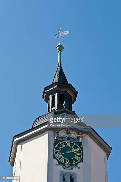 Clock with mechanical figures, tower of city hall, market square, Jena, Thuringia, Germany, Europe