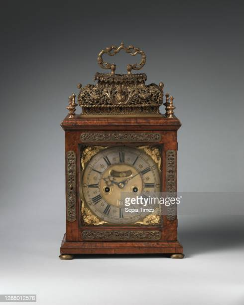 John Andrews, Table or bracket clock, British, London, Clockmaker: John Andrews British, London, Gilded brass and steel; Case: walnut, walnut veneer,...