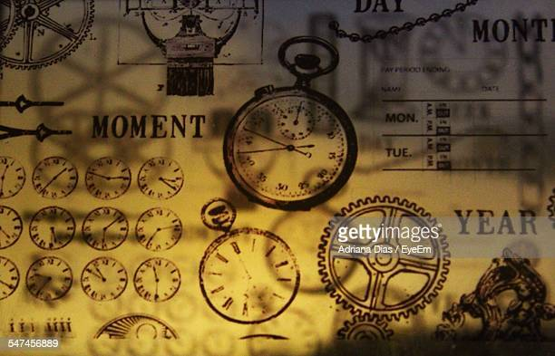 Clocks And Gears Made On Wall