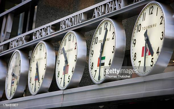 Clocks at Tourneau showing the time in different cities in the world