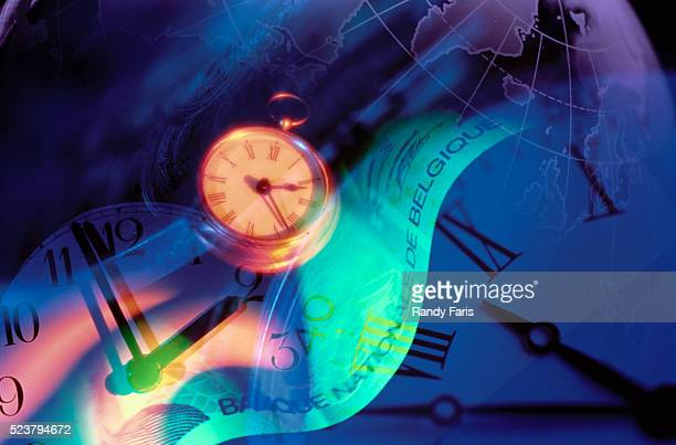 Clocks, Belgian Currency, and Globe