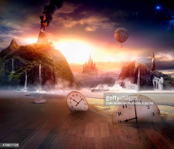 clocks in dramatic landscape - dreamlike stock pictures, royalty-free photos & images