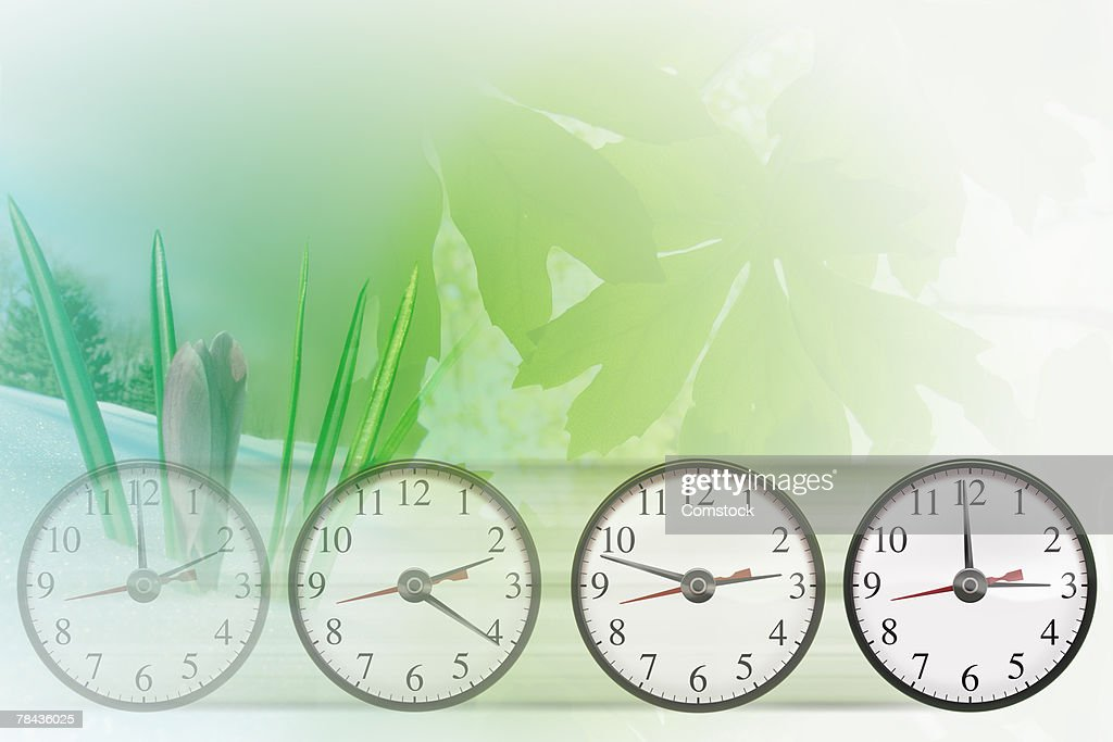 Clocks showing time differences with seasonal scenes : Stockfoto