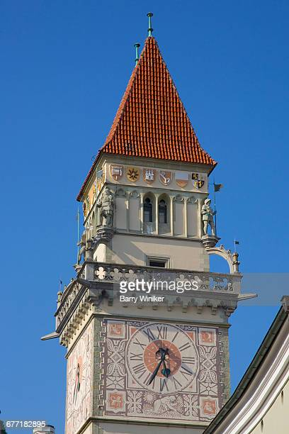Clocktower atop Old Town Hall in Passau, Bavaria