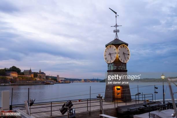 clocktower, oslo, norway - international landmark stock pictures, royalty-free photos & images