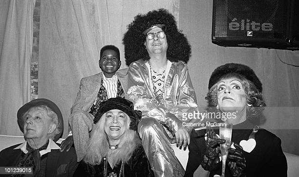 Clockwise from center: Village Voice columnist Michael Musto , performance artist Randy Allen , American actress Sylvia Miles, English writer and gay...